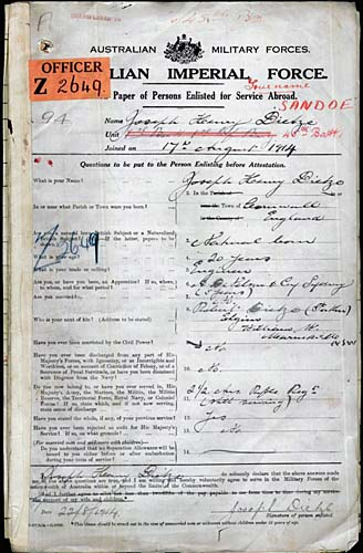 Enlisted as Dietze, stepfather's name. From Army Service Records