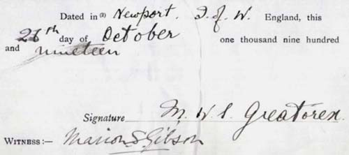 From Service Records, before final discharge. Witnessed by his aunt (mother's sister). Dated 26 October 1919 (i.e. after Russia).