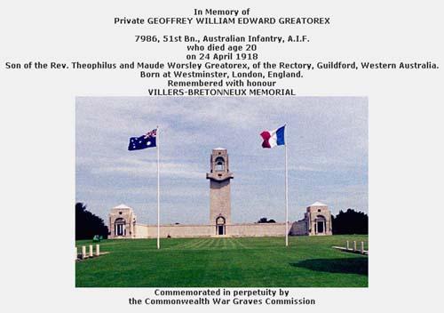 Villers Bretonneux Memorial