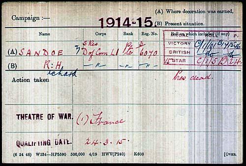 Richard Henry Sandoe's Medal Card